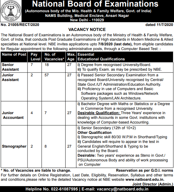 National Board of Examinations-advertisement-various-posts-apply-online-557x614